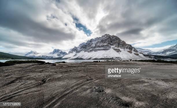 カナダのロッキー山脈に対する痕跡と空の土のビーチ - ロッキー山脈 ストックフォトと画像