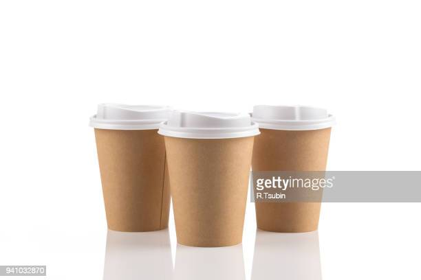 Empty disposable paper coffee cups