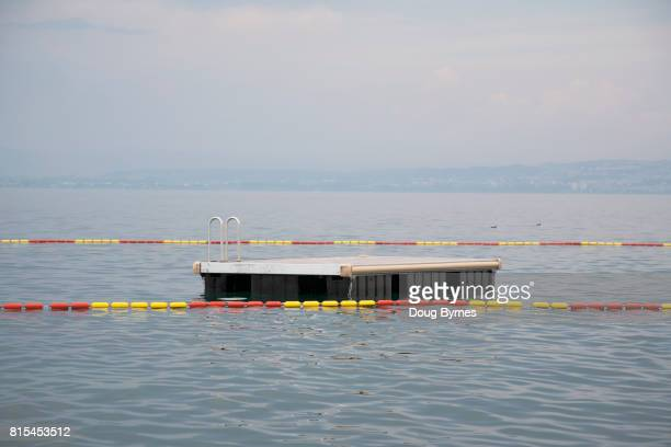 Empty diving platform on Lake Geneva