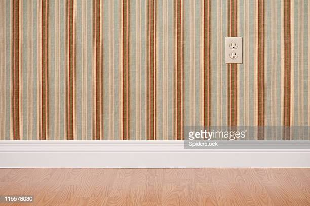 empty domestic room with power outlet - wainscoting stock photos and pictures