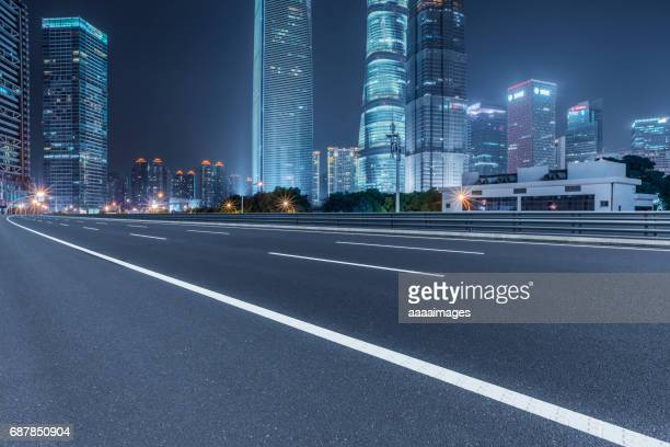 Empty downtown street intersection at night,shot in Shanghai