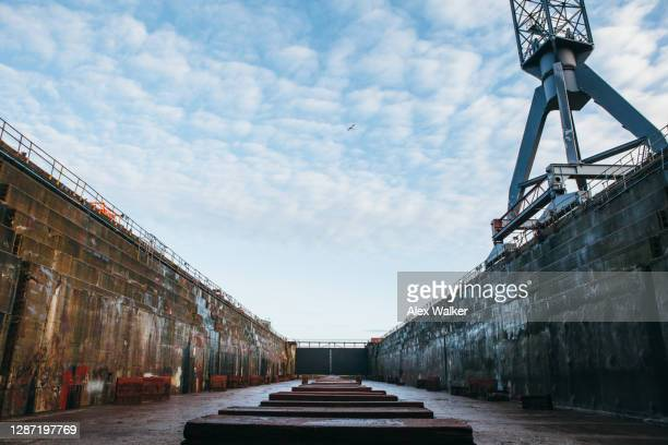 empty dry docks with support blocks. - west indies stock pictures, royalty-free photos & images