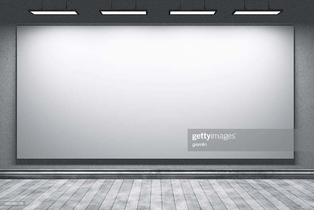 Empty education office room with big projection screen : Stock Photo