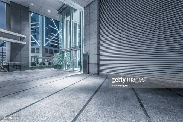 empty entrance of modern building in Hong Kong
