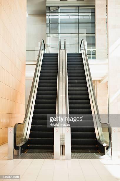 Empty escalators in lobby