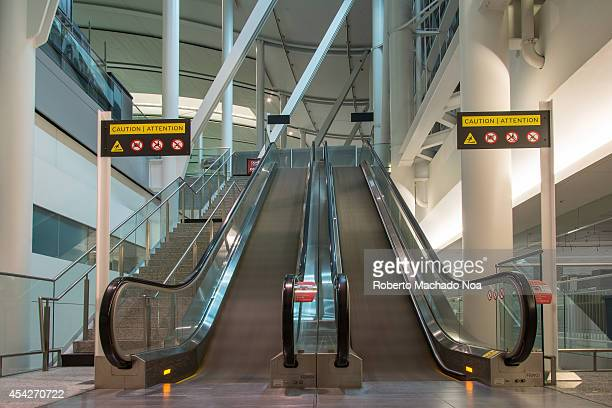 Empty escalators working at Pearson International Airport in Toronto Canada