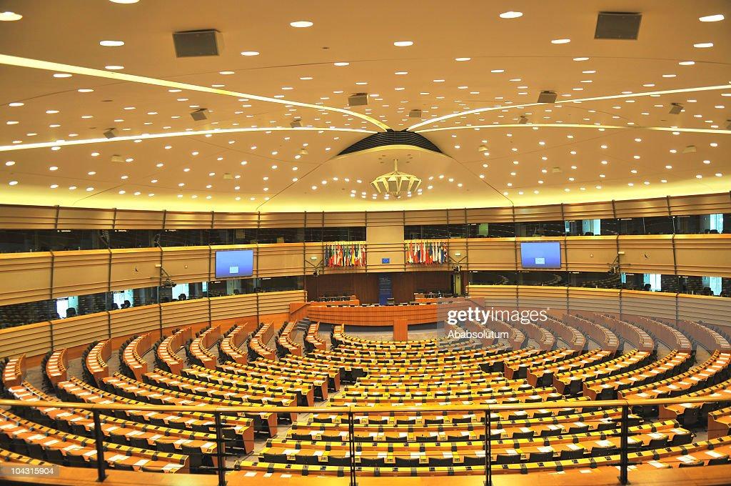 Empty European Parliament Assembly Room, Brussels, Belgium : Stockfoto