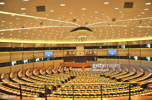 empty european parliament assembly room, brussels, belgium - government stock pictures, royalty-free photos & images