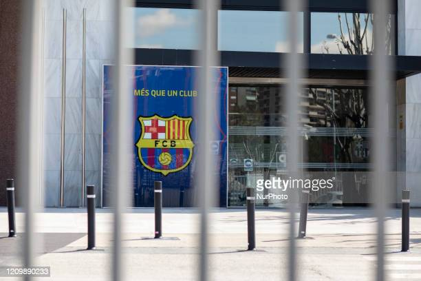 Empty FC Barcelona stadium surroundings during the state of alarm in Spain At Camp Nou Stadium On April 14 2020 in Barcelona Spain
