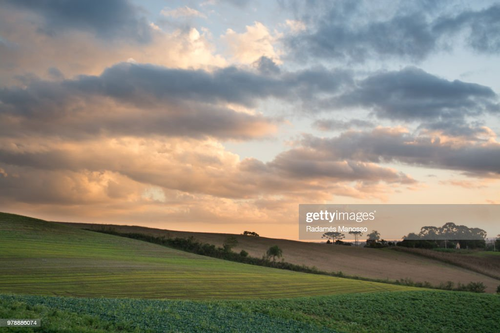 Empty field and clouds, Campo Magro, Brazil : Foto de stock