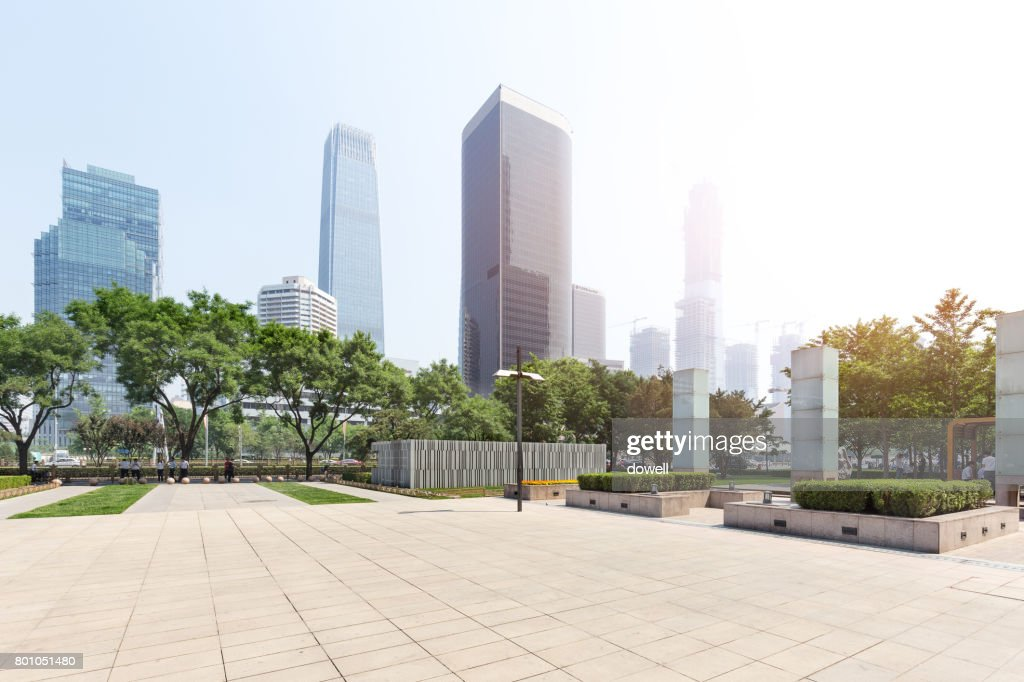 empty floor and modern buildings in midtown of modern city : Stock Photo
