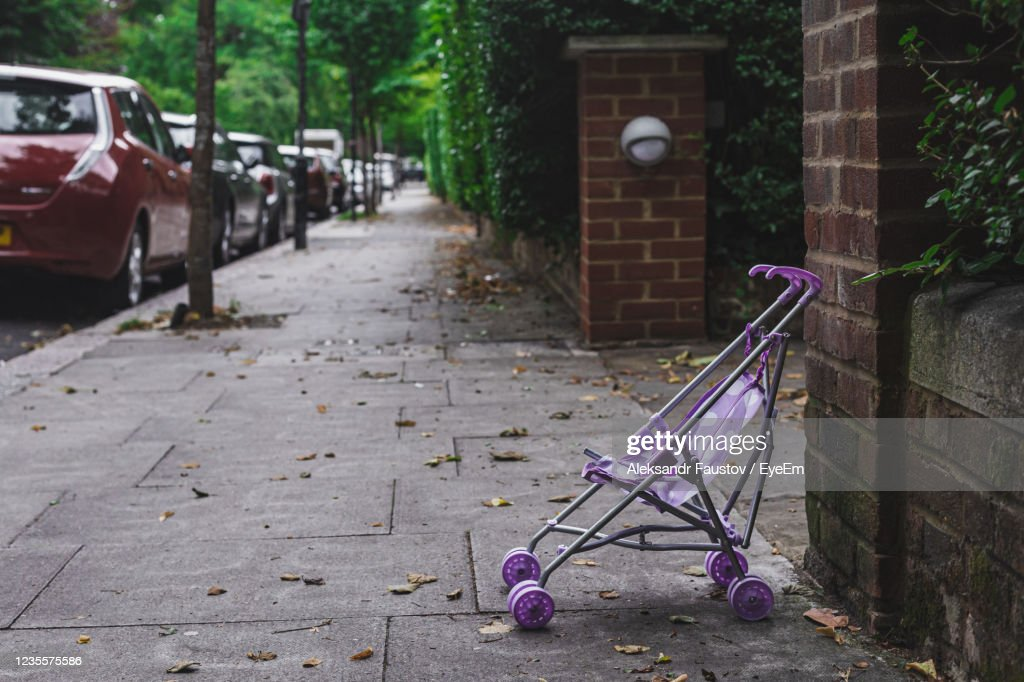 Empty Footpath By Street In City : Stock Photo