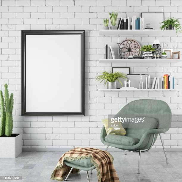 empty frame in living room - shelf stock pictures, royalty-free photos & images