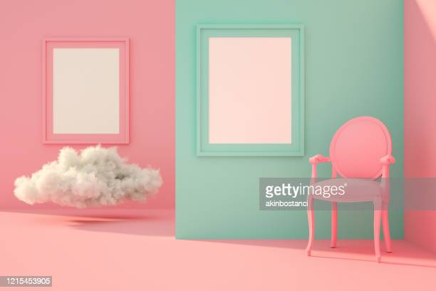 3d leeg frame in woonkamer met zonlicht en wolk - driedimensionaal stockfoto's en -beelden