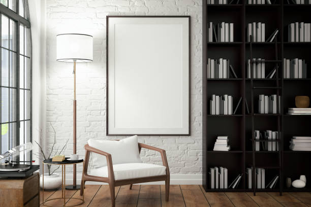 empty frame on living rooms wall with library - modern stock pictures, royalty-free photos & images