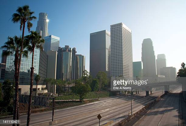 Empty freeway through downtown Los Angeles