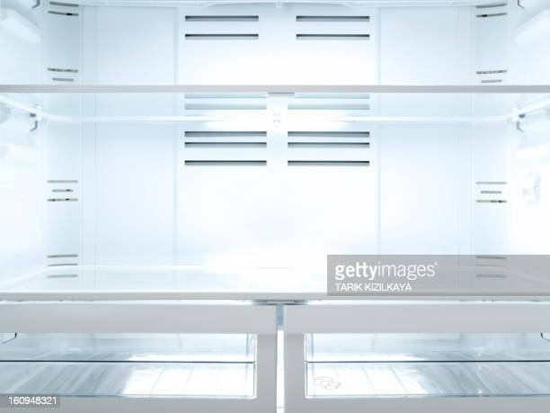 empty fridge, inside - help:contents stock pictures, royalty-free photos & images
