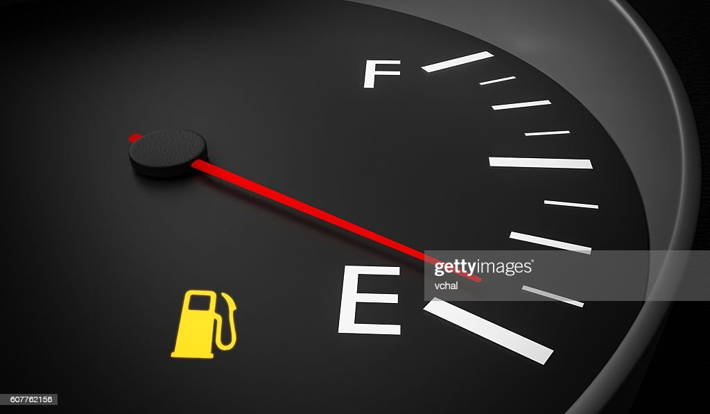 Empty fuel warning light in car dashboard. 3D rendered illustration. : Stock Photo