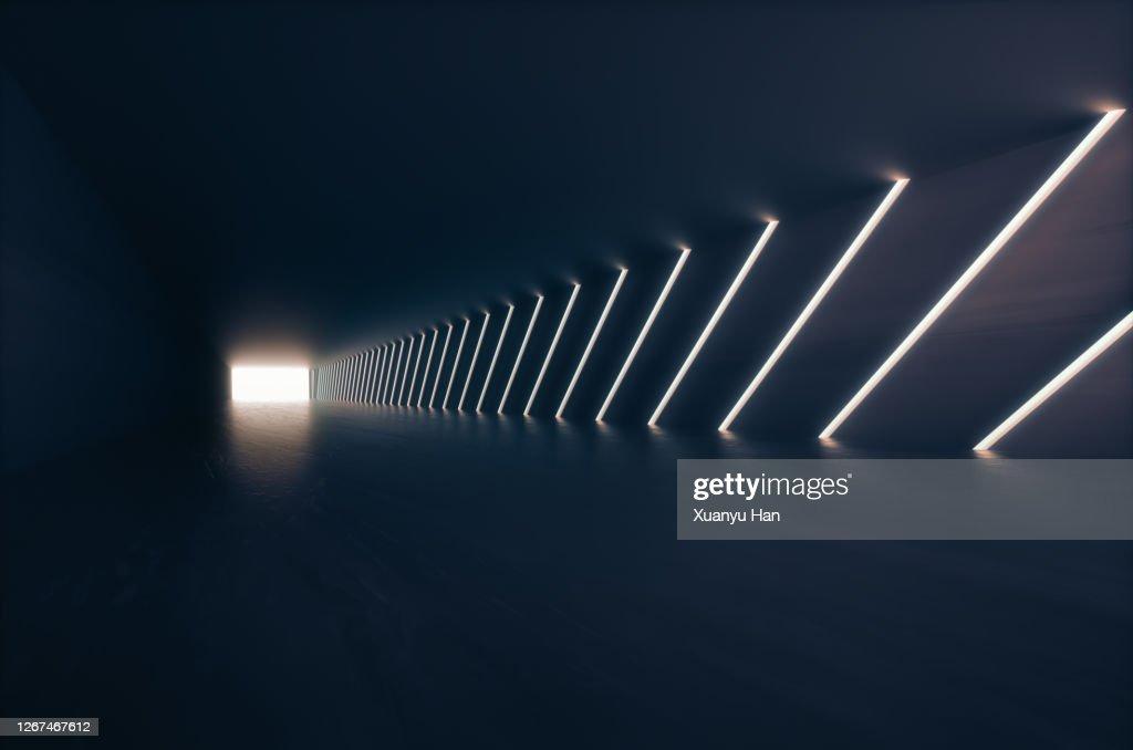 Empty futuristic corridor background : Stock Photo