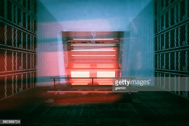 Empty futuristic room with supercomputer console