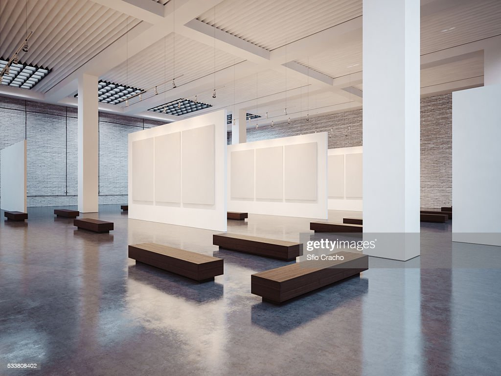 Empty gallery interior with white canvas : Foto stock
