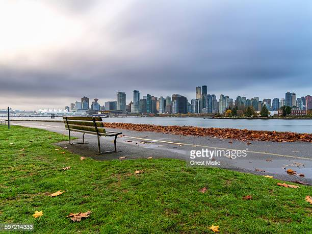 empty garden bench with skyline in Vancouver