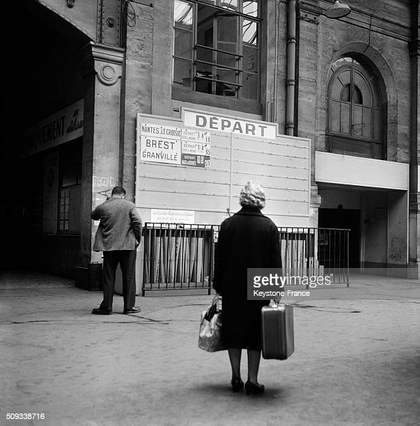 Empty Gare Montparnasse Because Of the Partial Strike Of SNCF French Train National Company Employees in Paris France on April 24 1962