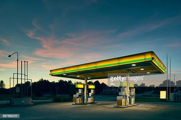 Empty gas station at dusk, Kalmar, Sweden