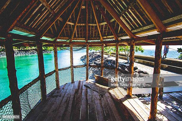 empty gazebo by sea - samoa stock pictures, royalty-free photos & images