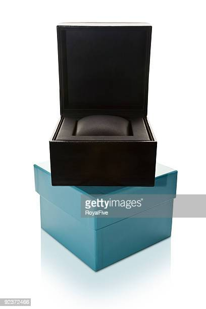 empty gift box - engagement ring box stock photos and pictures