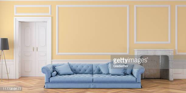 empty glamour antique living room with decoration and fireplace - herringbone floor stock photos and pictures