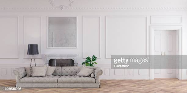 empty glamour antique living room with decoration and fireplace - french culture stock pictures, royalty-free photos & images
