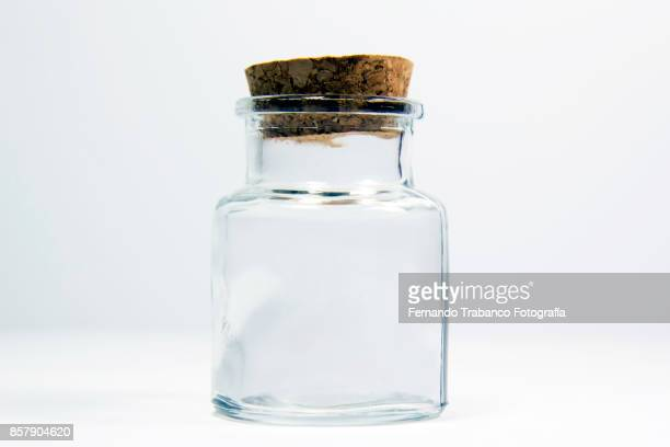 empty glass jar - bottle stopper stock photos and pictures
