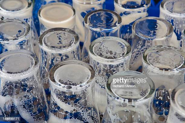 empty glasses in gravity bar at guinness storehouse. - guinness stock pictures, royalty-free photos & images