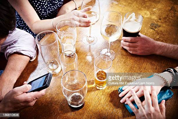 Empty glasses on bar table