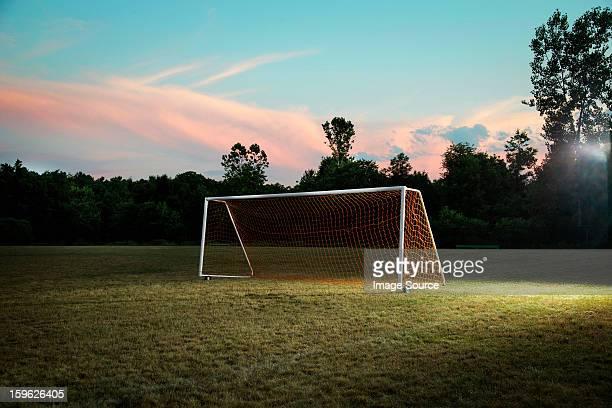 empty goal on soccer pitch - campo de futebol - fotografias e filmes do acervo