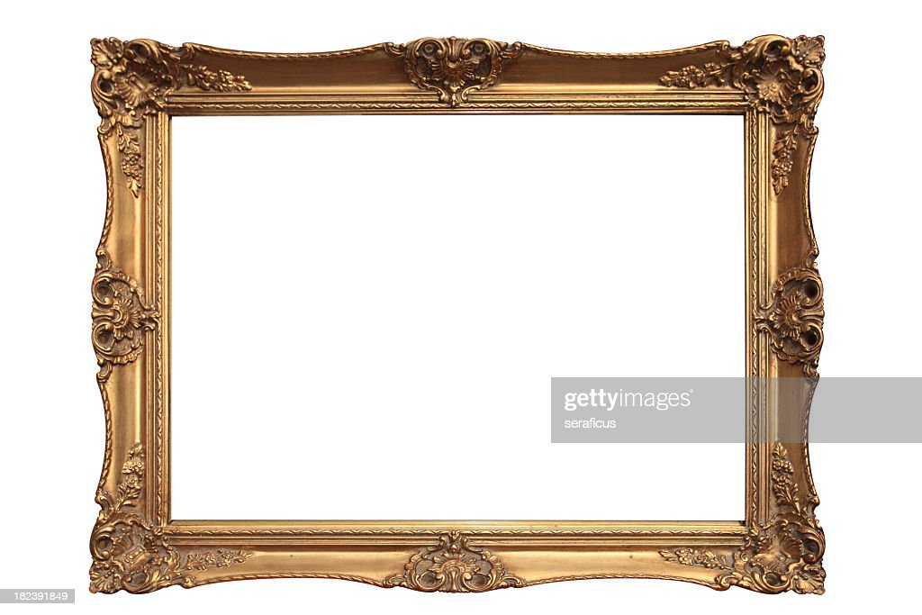 Empty gold ornate picture frame with white background : Stock Photo