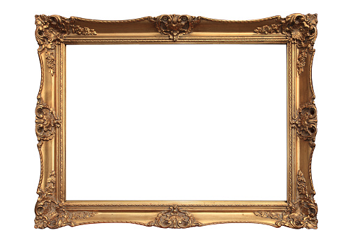 Empty gold ornate picture frame with white background 182391849