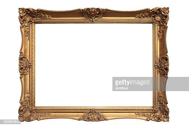 empty gold ornate picture frame with white background - gold colored stock photos and pictures