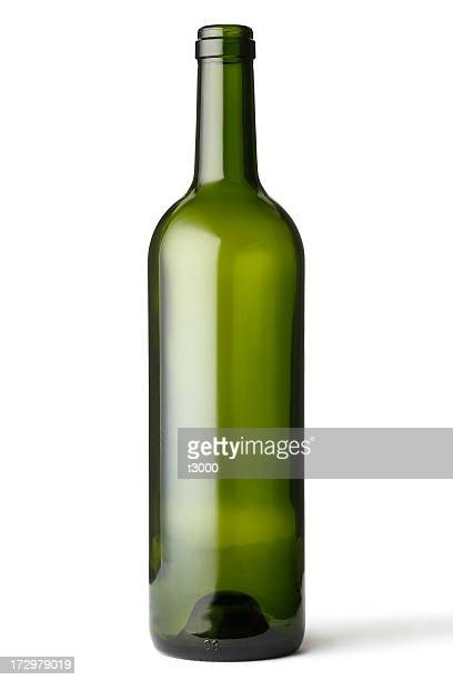 Empty green glass bottle
