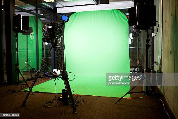 empty green screen film set - stage set stock pictures, royalty-free photos & images