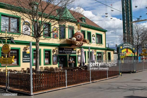 Empty guest garden at the Englischer Reiter restaurant during Coronavirus Affects Everyday Life In Austria at Wiener Prater on March 13, 2020 in...