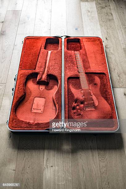 empty guitar case with imprint - guitar case stock pictures, royalty-free photos & images