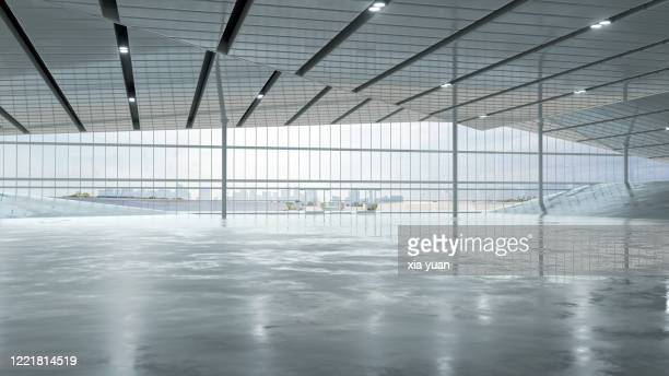 empty hall with french windows of modern building - french doors stock pictures, royalty-free photos & images