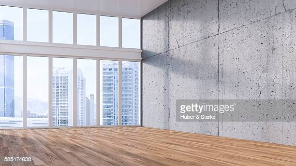 Empty hall with wooden floor , view on skyline