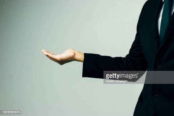 Empty hands of business people.