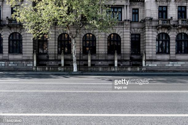 empty hangzhou city road in china - pavement stock pictures, royalty-free photos & images