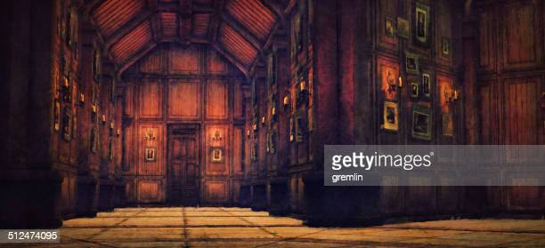 empty haunted house interior corridor - spooky stock pictures, royalty-free photos & images