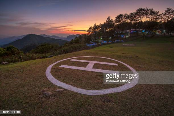 empty helipad on doi ang khang ,chiang mai thailand - helipad stock photos and pictures