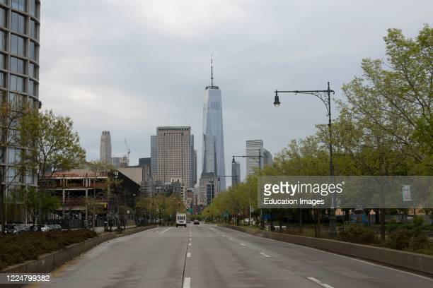 Empty highway heading downtown to Battery Park, Manhattan, New York, USA.